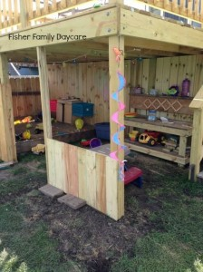 Mud Kitchen and Sand Box View